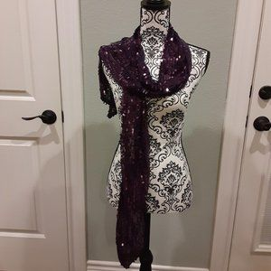 JLo FABULOUS Purple sequined scarf